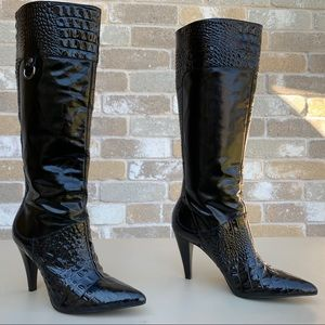 Gianni Bini Leather Boots, Croco-Embossed Leather